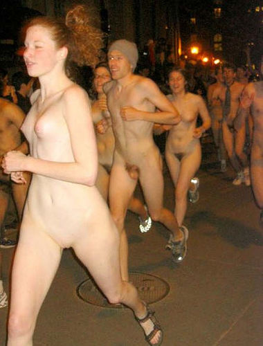 In naked public running
